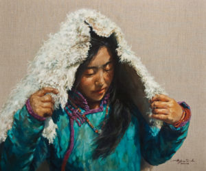 """Thoughtful Reflection"" by Donna Zhang 30 x 36 – oil $6350 (thick linen wrap)"