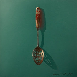 "SOLD ""Wanna Spoon?"" by Glen Melville 12 x 12 – acrylic and oil $600 (thick canvas wrap)"