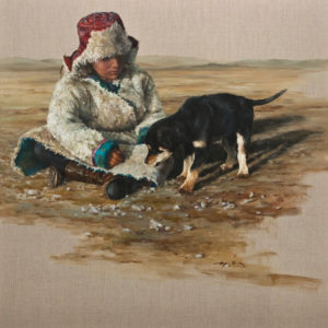 """""""Young Friends,"""" by Donna Zhang 36 x 36 - oil $7450 (thick linen wrap)"""