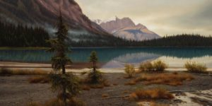 """Along the Shores of Emerald Lake,"" by Ray Ward 12 x 24 - oil $1775 Unframed"