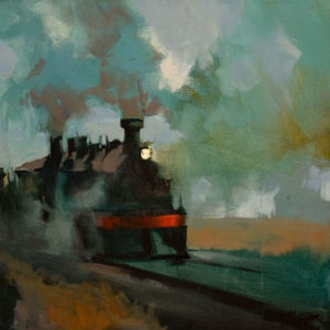 "SOLD ""Clang and Thunder - The Night Train,"" by Michael O'Toole 14 x 14 - acrylic $1160 Unframed"