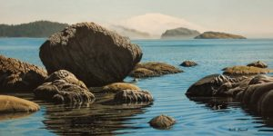"SOLD ""Fog Bank, East Sooke Park,"" by Keith Hiscock 12 x 24 - oil $1975 Unframed"