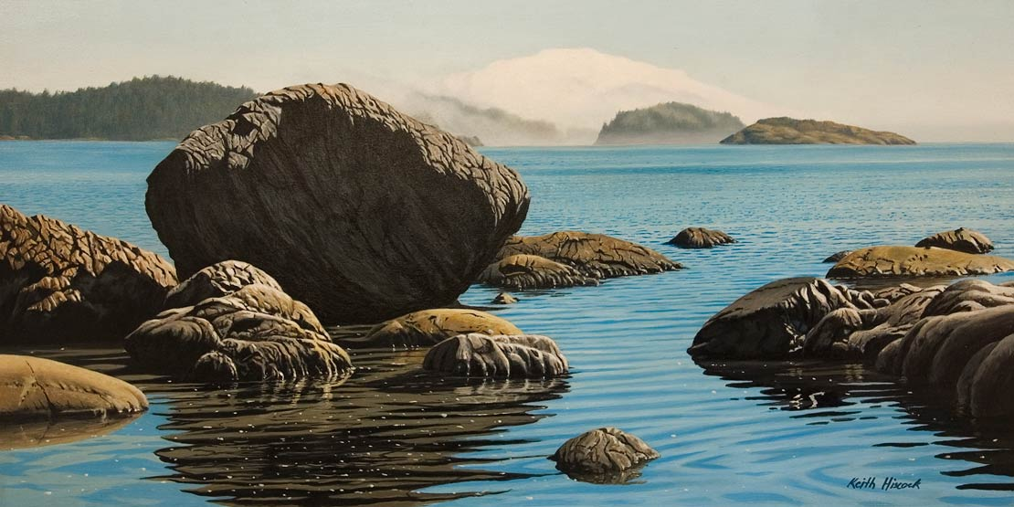 """Fog Bank, East Sooke Park,"" by Keith Hiscock 12 x 24 - oil $1975 Unframed"