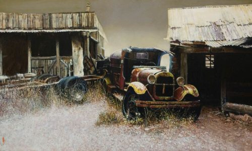 """""""Ghost Town Relic,"""" by Alan Wylie 18 x 30 - oil $6080 Unframed"""