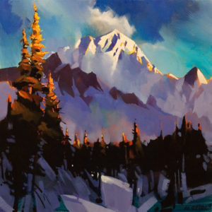 "SOLD ""Kananaskis, Peak of Light,"" by Michael O'Toole 18 x 18 - acrylic $1640 Unframed"