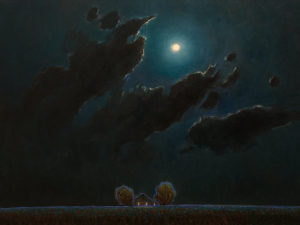 "SOLD ""Moon Clouds Over Farm,"" by Steve Coffey 18 x 24 - oil $1850 (thick canvas wrap)"