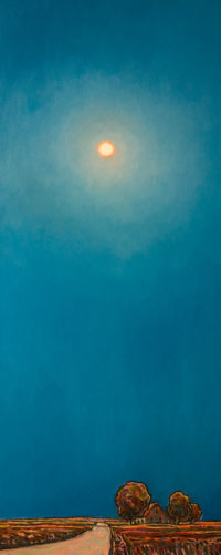 """Moon Over Farm,"" by Steve Coffey 16 x 40 - oil $2465 (thick canvas wrap)"