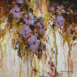 "SOLD ""Violetta"" by Janice Robertson 12 x 12 – acrylic $730 (thick canvas wrap)"