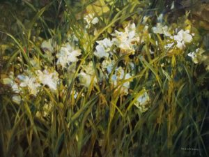 "SOLD ""White Iris"" by Janice Robertson 30 x 40 – acrylic $4,000 Unframed"