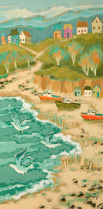 "SOLD ""At the End of the Fishing Season,"" by Claudette Castonguay 12 x 24 – acrylic $700 Unframed"