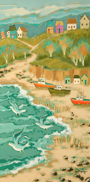 "SOLD ""At the End of the Fishing Season,"" by Claudette Castonguay 12 x 24 - acrylic $700 Unframed"