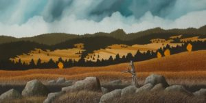 "SOLD ""Autumn Glory,"" by Ken Kirkby 30 x 60 – oil $5000 Unframed"