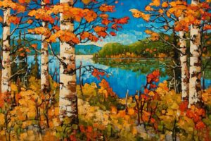 "SOLD ""Autumn Shores, Golden Lake, Ont."" by Rod Charlesworth 24 x 36 – oil $3295 Unframed"