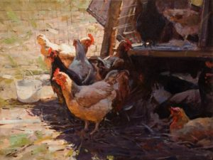 "SOLD ""Chicken Coop,"" by Clement Kwan 9 x 12 - oil $1650 unframed"