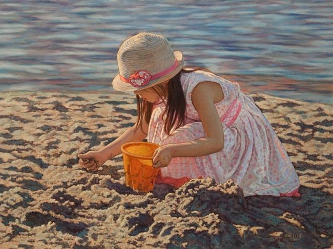 """""""A Day at the Beach,"""" by Don Li 12 x 16 - oil $1800 Unframed"""