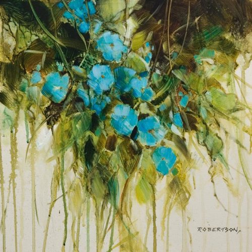 """""""Forget Me Nots III,"""" by Janice Robertson 16 x 16 - acrylic $1200 (thick canvas wrap)"""