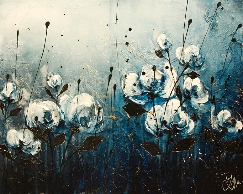 SOLD ``From Blue to You,`` by Laura Harris 16 x 20 - acrylic $1650 (thick canvas wrap)