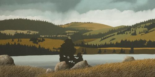 """""""Guichon Ranch - North End of Nicola Lake,"""" by Ken Kirkby 18 x 36 - oil $1945 Unframed"""