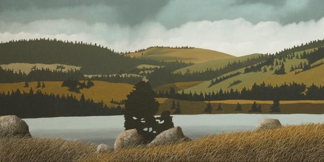 """Guichon Ranch - North End of Nicola Lake,"" by Ken Kirkby 18 x 36 - oil $1945 Unframed"