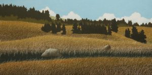 """Lovers' Hideaway,"" by Ken Kirkby 18 x 36 - oil $1945 Unframed"