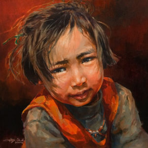 """Mother's Helper,"" by Donna Zhang 18 x 18 - oil $2780 Unframed"