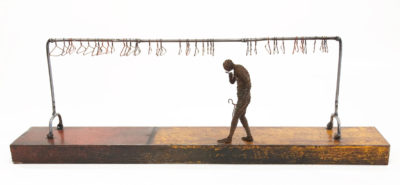 "SOLD ""Nothing to Wear"" by Janis Woode wrapped copper wire, steel - 10"" (H) x 31"" (L) x 5"" (W) $3100"