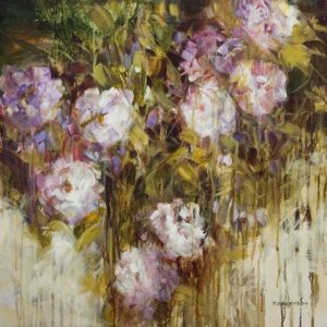 "SOLD ""Purple Rain II"" by Janice Robertson 24 x 24 – acrylic $1850 (thick canvas wrap)"