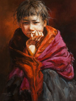 """Quietly Waiting,"" by Donna Zhang 18 x 24 - oil $3650 Unframed"