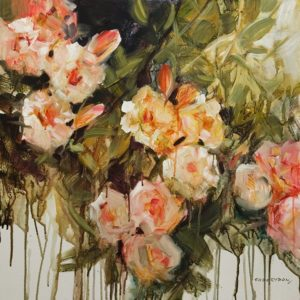 """Sunset Roses,"" by Janice Robertson 24 x 24 - acrylic $1850 (thick canvas wrap)"