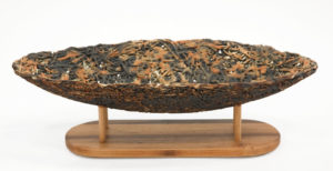 "Nest Boat with stand (LR-258) by Laurie Rolland hand-built ceramic - 12 1/2"" (L) x 3 1/2"" (H) x 5"" (W) $325"