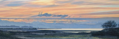 """Estuary Low Tide,"" by Ron Parker 12 x 36 - oil $2600 Unframed"