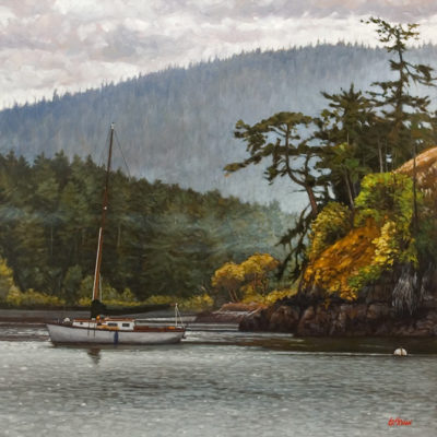 """Gulf Island Quiet Harbour,"" by Graeme Shaw 36 x 36 - oil $4100 Unframed"