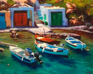 "SOLD ""Mediterranean Parking (Milos, Greece)"" by Mike Svob 24 x 30 - acrylic $4560 Unframed"