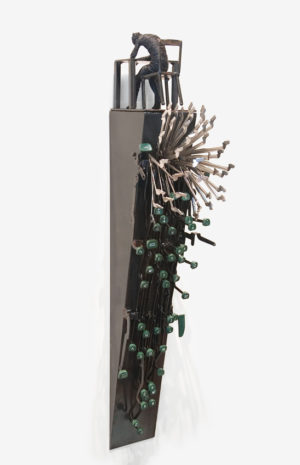 """Midnight Oil,"" by Janis Woode wrapped copper wire, steel, vintage typewriter parts - 32"" (H) x 6"" (W) x 9 1/2"" (L) $3500"