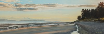 "SOLD ""Qualicum Beach Dawn,"" by Ron Parker 12 x 36 - oil $2600 Unframed"