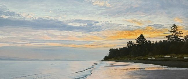 """Qualicum Dawn Clouds,"" by Ron Parker 20 x 48 - oil $5300 Unframed"