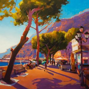 "SOLD ""Rim Light on the Amalfi Coast,"" by Mike Svob 24 x 24 - acrylic $3625 Unframed"