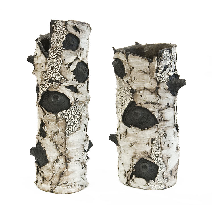 ``Adoration`` (BEBL 93 - SOLD) and ``For You`` (BEBL 91 - SOLD) by Bev Ellis ceramic - 15`` (H) x 5 1/2`` (W) and 12 1/2`` x 6`` (W) $250 and $240