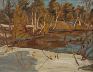 "SOLD ""Madawaska River"" (1961) by A.Y. Jackson 10 1/2"" x 13 1/2"" - oil"