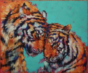 """All You Need is Love"" by Angie Rees 20 x 24 - acrylic $1875 (unframed panel with 1 1/2"" edges)"