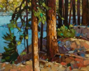 "SOLD ""Along the Kennedy River"" by Graeme Shaw 8 x 10 - oil $510 Unframed"