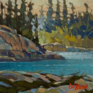 "SOLD ""At the Bend, Stagg River, N.W.T."" by Graeme Shaw 6 x 6 - oil $420 Unframed"