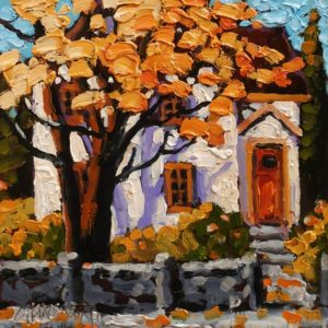 "SOLD ""Autumn Facade"" by Rod Charlesworth 6 x 6 - oil $475 Unframed"