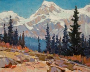 "SOLD ""Big Sky Mountains"" by Graeme Shaw 8 x 10 - oil $510 Unframed"