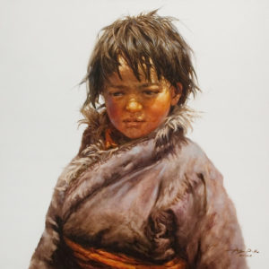 "SOLD ""Boy From Nachu,"" by Donna Zhang 30 x 30 - oil $6100 Unframed"