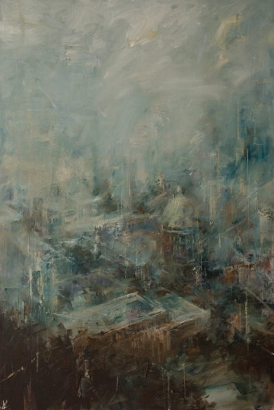 """""""City in Clouds,"""" by William Liao 24 x 36 - oil $2650 Unframed"""