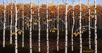 """""""Gold Dusk"""" by Peter McConville 10 x 19 - acrylic $1150 (artwork continues onto 1/2"""" edges of panel)"""