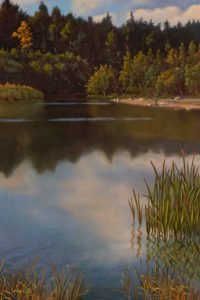 "SOLD ""Green Timbers Lake, Afternoon"" by Don Li 8 x 12 - oil $1050 Unframed"
