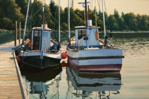 "SOLD ""Harbour Reflections,"" by Merv Brandel 24 x 36 - oil $4725 Unframed"