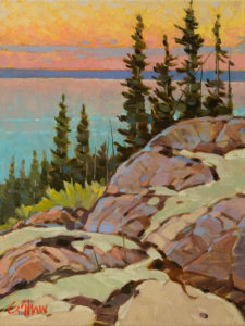 "SOLD ""July Eve, Great Slave Lake"" by Graeme Shaw 9 x 12 - oil $550 Unframed"